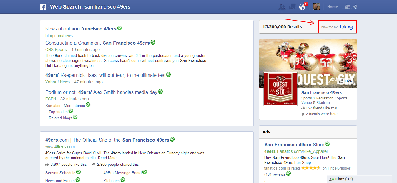 SanFrancisco49ersBingResults