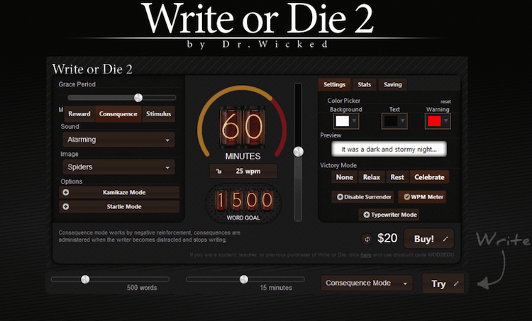 Writing tools writeorDie